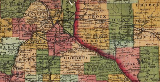 MN WI map (1871 railroad map from LOC)