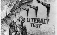 Political cartoon showing immigrants facing a tall wall labelled literacy test, with Uncle Sam peering over at them.