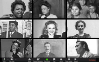 Zoom video conference with images of teachers from different eras drawn from the MNHS digital archives.